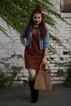 suede shift dress with a denim jacket fall outfit