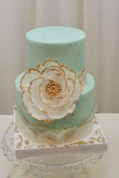 golden anniversary cake with wafer flower - Google Search