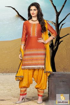Copper Golden Patiala Salwar Suit