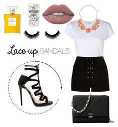 """""""Lace-up sandals contest"""" by yeraz-alina ❤ liked on Polyvore featuring RE/DONE, River Island, Jimmy Choo, Dorothy Perkins, Michael Kors, Lime Crime, Moschino, contestentry, laceupsandals and PVStyleInsiderContest"""