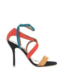 SOPHIE THEALLET Rita multi-cross suede sandals ($797) ❤ liked on Polyvore featuring shoes, sandals, orange multi, suede sandals, wrap around shoes, strappy sandals, wrap around sandals and wrap shoes