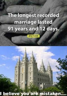 "It doesn't have to be ""Till death do us part!"" Marriages can and should last for eternity!! Thankful for a temple marriage - an eternal sealing. Learn more at lds.org and mormon.org"