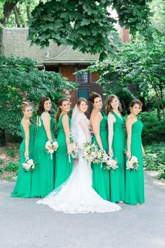 Kelly green-clad bridesmaids dresses                                                                                                                                                     More