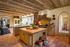 Farmhouse Rustic Kitchen with Wooden Kitchen Island and Furniture Kitchen Cabinets Door Style with Rustic Tuscan Ideas