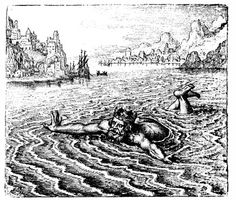 """""""The King swimming in the Sea cryes out with a Loud Voice: He that delivers me shall have a great reward."""" From Michael Maier's 'Atalanta Fugiens'- 1618."""