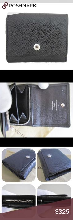 """Auth Louis Vuitton Taiga Card Case Coin Wallet Preowned. Very good condition. Rarely used. Light traces of heat stamped initials on inside flap( see photo#2) Date code: CT3191. Dimensions: 3.8"""" length, 3.2"""" height, 1"""" depth. Snap closure, 2 card slots, zip double coin pouch, small slip pocket for bills, etc.. Black Taiga leather. Perfect size for a small evening bag or clutch, or to slip into your pocket. Includes Louis Vuitton dustpouch. Additional photos upon request. Price is firm. No…"""