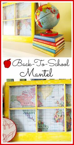 DIY Ideas With Old Windows - Back To School Mantel - Rustic Farmhouse Decor Tutorials and Projects Made With An Old Window - Easy Vintage Shelving, Co Back To School Party, Back To School Crafts, School Parties, Back To School Window Display, Back To School Displays, School Decorations, School Themes, September Decorations, Old Windows