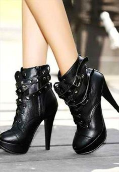 Rivets Black High Heel Boots