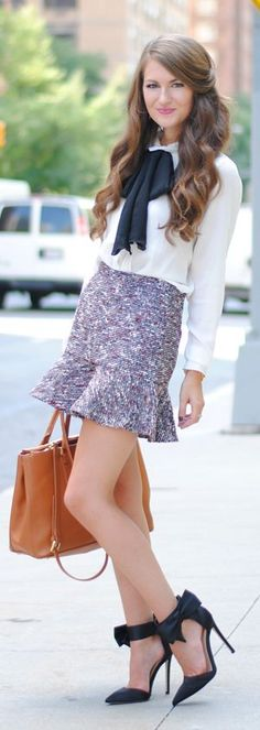 Multi Tweed Ruffle Hem Mini Skirt