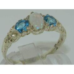 Ladies Solid White 9K Gold Natural Opal & Blue Topaz Victorian Trilogy Ring
