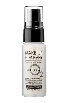 With your makeup, you want to set it and forget it. That's why setting spray is your secret weapon. This sweat-proof mist by Make Up For Ever keeps everything intact for at least 12 hours. Make Up For Ever Mist & Fix Setting Spray, $14, available at Sephora. #refinery29 http://www.refinery29.com/music-festival-makeup-bag#slide-12