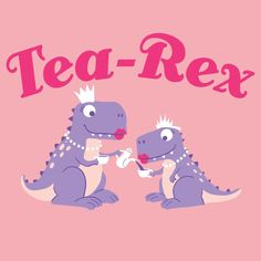 Girl's Tea-Rex T-Shirt - S & M - Dinosaur Tea Party - Glitter! #TheDuckCompany