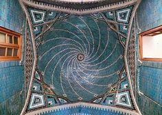 Blue ceramic tile vaulted roof of the Tekyeh Mo'aven ol Molk at Kermanshah, Qajar era.   By dynamosquito