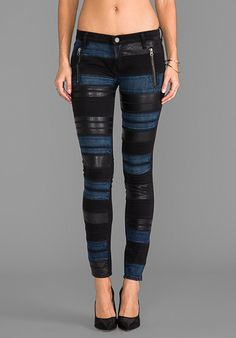 BLANKNYC Black Denim Pant with Leather and Blue Panels in AMT - Revolve Clothing | Ador