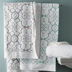 Legends Calais Luxury Bath Towels - Jacquard-woven in an elegant medallion motif by expert artisans in Portugal, these luxurious spa-worthy bath towels combine elegant design and texture with the legendary softness, absorbency and durability of pure Egyptian cotton.