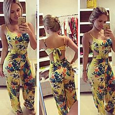 New Women Summer Clubwear Floral Playsuit Bodycon Party Jumpsuit Romper Trousers Rompers Women, Jumpsuits For Women, Long Jumpsuits, Evening Jumpsuits, Fashion Jumpsuits, Trousers Fashion, Yellow Jumpsuit, White Romper, Backless Jumpsuit