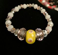 Handmade Stretch Bracelet in Yellow, Pink, and White - Accessory - Pandora Style Beads -Women - Teens - Gift -One of a kind -Fashion Jewelry...