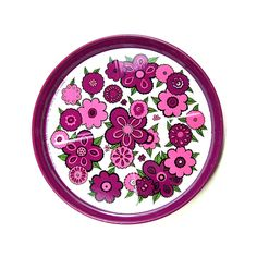 Vintage purple flower coasters | Made by Baret ware, England | Wooden donkey | Flickr
