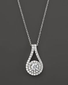 Diamond Teardrop Pendant Necklace with Solitaire in 14K White Gold, 1.0 ct. t.w.