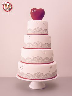 Wedding cake Heart and Sugarlace - Gâteau de Mariage Dentelles silikomart Coeur - Un Jeu d'Enfant Cake Design Nantes France