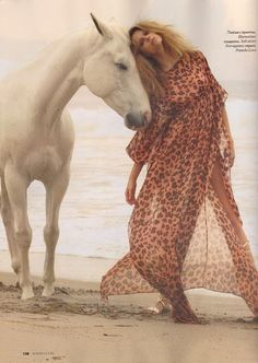 Brazilian model Martha Streck poses alongside a white horse for Elle Russia's July 2011 glitzy shoot, photographed by Asa Tallgard. Horse Fashion, Fashion Shoot, Editorial Fashion, Fashion Models, Horse Girl, Horse Love, Crazy Horse, Clydesdale, Horse Photography