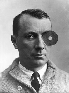 Hans Arp with navel monocle.