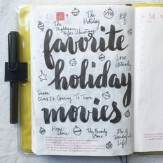 What are your favorite holiday movies? ⛄️ #journal #hobonichi #planner #diary #notebook #filofax #mtn #midori #travelersnotebook #midoritravelersnotebook #scrapbooking #stationery #pens #doodles #doodling #type #typography #letters #lettering #handwriting #handlettering #calligraphy #moderncalligraphy #brushpens #brushlettering