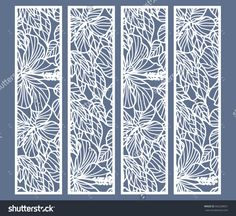 Die and laser cut ornamental panels with floral pattern. Hibiscus flowers and leaves. Set of bookmarks templates. Laser Cut Paper, Laser Cut Metal, Laser Cutting, Decorative Metal Screen, Decorative Panels, Border Pattern, Lace Border, 3d Laser Printer, Cnc Cutting Design