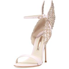 Sophia Webster Evangeline Angel Wing Sandal ($700) ❤ liked on Polyvore featuring shoes, sandals, heels, sapatos, pink glitter, strap sandals, strap heel sandals, open toe sandals, metallic sandals and ankle wrap sandals