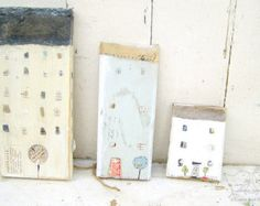 Houses Reclaimed Wood Art Mixed Media Wall Decor Original Art Wooden House Wood House