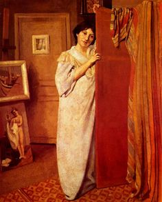Portrait of workshop with figure (my wife), 1902 by Felix Vallotton. Post-Impressionism. portrait
