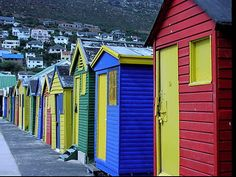 Africa |  Sights and Sounds.  Colorful Bathhouses , Cape Town, South Africa