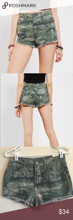 "BDG High Rise Cheeky Cut Off Shorts A modern high waist rise cheeky shorts with added stretch. 4 functional pockets with belt loops and zipper fly. Cut off hem line.   Rise 12"" Inseam: 2""  Trend alert! Wear them in fall with tights and boots! Urban Outfitters Shorts Jean Shorts"