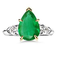 Pear Emerald and Diamond Three Stone Ring - Custom Jewelry | Angara ...
