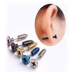 펑크 스타일의 스테인레스 스틸 5 색 스터드 귀걸이 남성 펑크 귀 보석 바위 고딕 남녀 피어싱 귀걸이 무료 배송