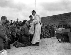 Combat Catholic Priest offering Holy Mass in the battlefield