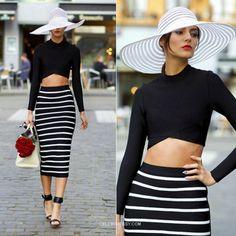 White Leather Stripe Long Sleeve And Black Bandage Dress 2 Piece  http://www.celebdressy.com/White-Leather-Stripe-Long-Sleeve-And-Black-Bandage-Dress-2-Piece
