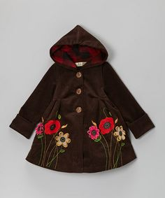 Take a look at this Brown Flower Corduroy Hooded Swing Coat - Toddler & Girls by Maria Elena on #zulily today!