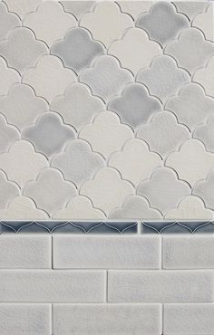 Decorative Materials, Ceramic Tile, New Shapes at Pratt & Larson The Small Scalloped Fan Handmade Ceramic Tiles, Decor, Fireplace Tile Surround, Beautiful Tile, Ceramics, Handmade Ceramics, Scallop Tiles, Eclectic Tile, Eclectic Bathroom