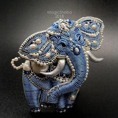 """MagicSheba on Instagram: """"Открываю маленькую неповторимую коллекцию слоников брошей по эскизам художницы @lokkearts . Сегодня мой день рождения, и мне прям классно…"""" Hand Work Embroidery, Bead Embroidery Jewelry, Beaded Embroidery, Embroidery Designs, Beaded Jewelry, Elephant Jewelry, Lesage, Fabric Beads, Gold Work"""