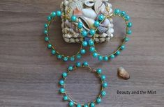 DIY: Handmade Gold And Turquoise Jewelry Set - Beauty and the Mist Jewelry Sets, Diy Jewelry, Handmade Jewelry, Resin Pendant, Turquoise Jewelry, Round Beads, Dried Flowers, Mists, Pendants