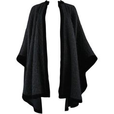 Preowned Yves Saint Laurent Black Mohair Cape 1965 ($2,500) ❤ liked on Polyvore featuring outerwear, 1960s, black, yves saint laurent, vintage cape, vintage cape coat and cape coat