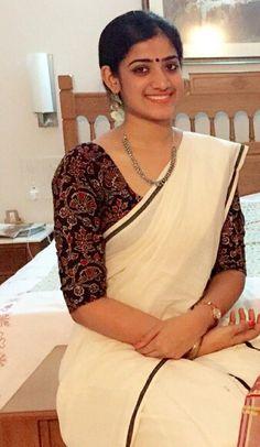 Simple Kerala #Saree with #Kalamkari Blouse