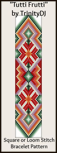 """""""Tutti Frutti"""" is my newest square or loom stitch bracelet pattern - will be available as direct download and/or kit next week."""