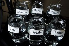 Mason jars ready for bridesmaid's bouquets...