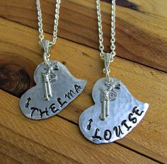 Thelma & Louise With Arrow Design Stamped Metal by FHGoldDesigns