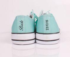 Tiffany blue Converse with Bride Heel Tag / Heel Stripe and Wedding Date
