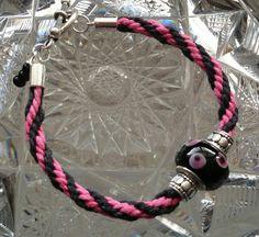 Kumihimo Bracelet  Black & Pink with Glass by goosecrossingfarm, $16.00