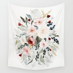 Loose Watercolor Bouquet Wall Hanging Tapestry by Shealeen Louise - Small: x