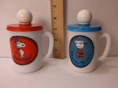 Avon Snoopy And Charlie Brown 1969 Liquid Soap Mugs Red Baron Milk Glass. epsteam by retroricks on Etsy
